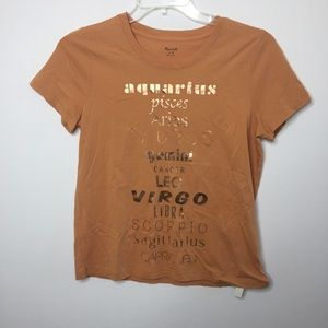 NWT Madewell Zodiac Gold Foil Orange T-Shirt